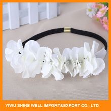 Modern Style Different Size Kids White Flower Metal Headband With Stone