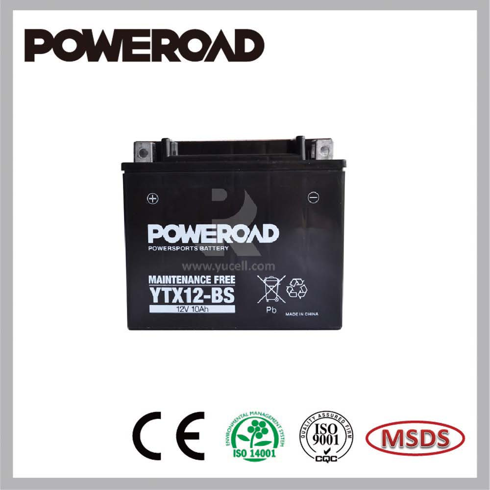 Poweroad Maintenance Free Dry Charged Lead Acid Motorcycle Battery YTX12-BS