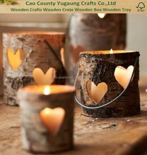 Custom wooden Birch Wood Heart Votive Lantern, rustic wedding decor Decor, heart shaped candle holder