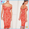 Women Fashion Casual Women's High Quality Elegant Red Lace Midi Dress