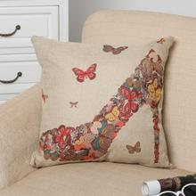 Wholesale Stock Small Order Colorful Butterfly High Heels Design Decorative Linen Throw Pillow Covers