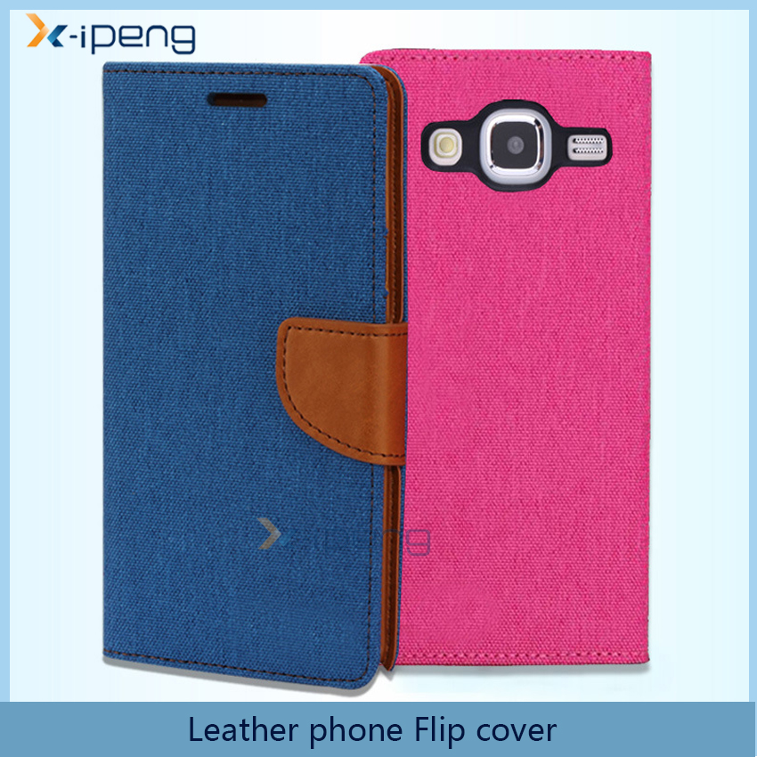 Hot new customized Oxford Fabric business book style Mixed Leather wallet flip mobile phone case cover for samsung galaxy j7