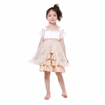 wholesale boutique Cute Baby Girls princess satin dress cheap toddler kids party tulle dress