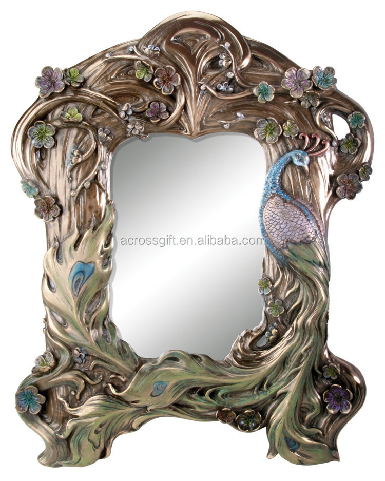 hot sale personalized handmade color painted home decorative poly resin Peacock Mirror