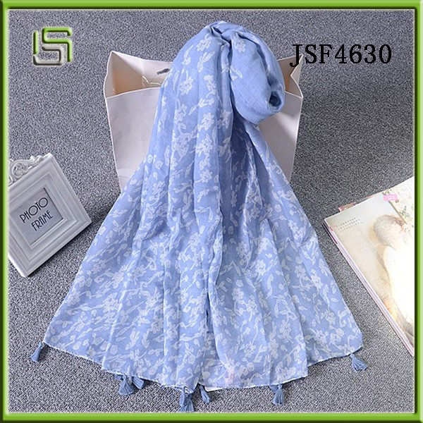 New Design Pink flower Pattern Polyester Scarf
