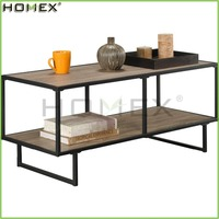 Wooden Coffee Table with Metal Square Leg/Modern TV Stand Table/Homex_FSC/BSCI Factory