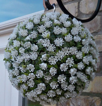 Latest Artificial White Rose Ball Topiary Flower Ball