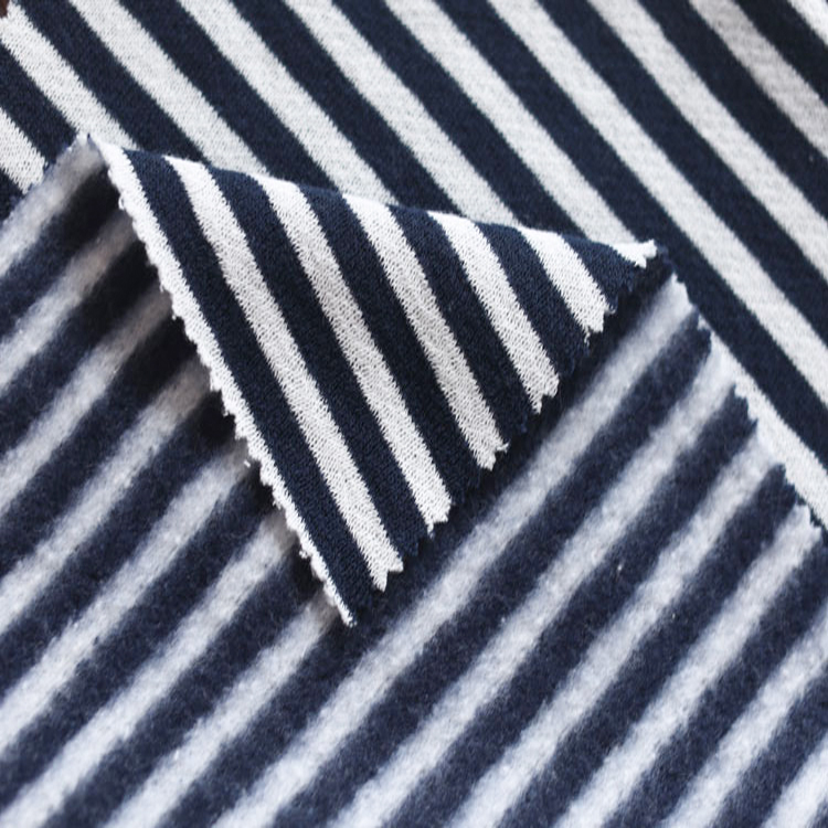 Wholesale Coarse Needle Fleece Fabric Striped Polyester Cotton Knit Fabric
