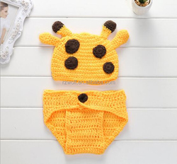 RZWOLF yellow hand knitted character hat patterns monkey crochet baby hat