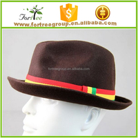 100% wool felt short brim winter fedora hats for men and women