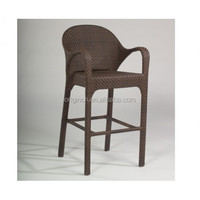 wholesale classic commercial furniture outdoor garden rattan chair bar stool with armrest