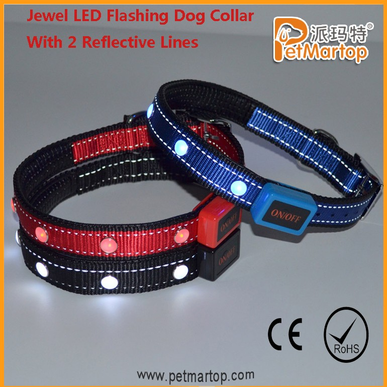 Amazon 2017 Custom Logo Dog Collar, Reflective LED Pet Collar, Best Selling Items Dog Collar And Leash