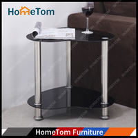 6 mm Black Tempered Glass Stainless Steel Computer Table