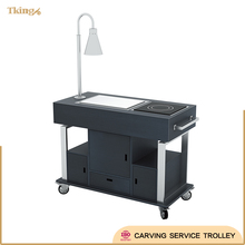 fireproof board stainless steel 304 frame Carving Service Trolley with imported wheels for hotel/restaurant