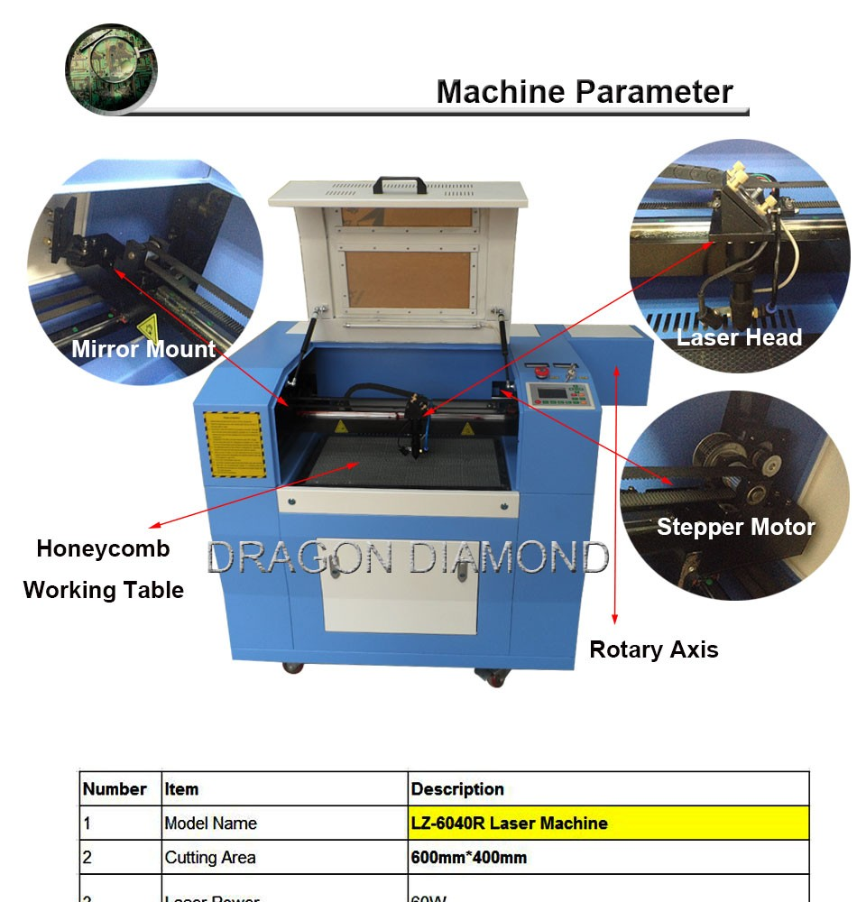 laser engraving machine price/CO2 Engraving machine LZ-6040 / laser co2 engraving machine Guangzhou