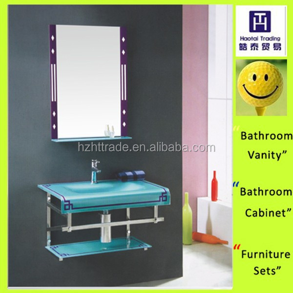 Hot modern wall mounted blue tempered glass bathroom banity/vessel sink