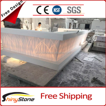 Backlit pattern design acrylic solid surface led bar counter