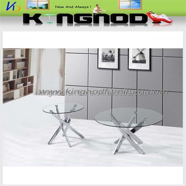 china made Tianjin port round tempered cross leg glass Coffee Table