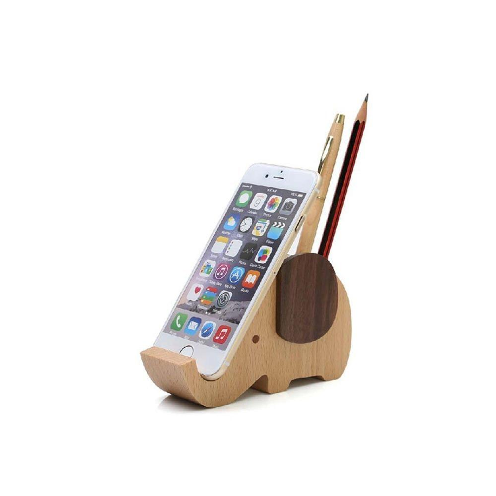 Elephant Pencil Holder With Phone Holder Desk Organizer (Wooden)