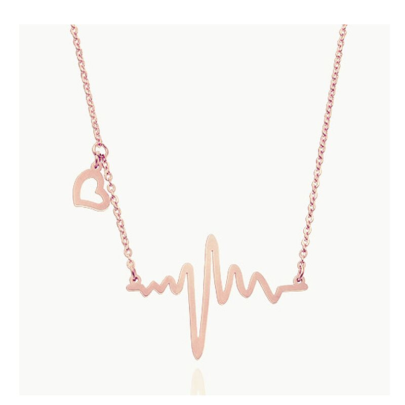 Wholesale Fashion Love Heart Shaped Titanium Heartbeat Pendant Electrocardiogram Necklace for female