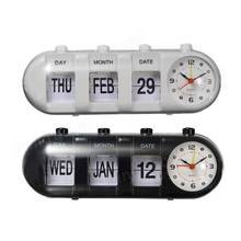 Cylindrical decorative calendar vintage retro auto flip alarm clock for elderly,flip desk table clock