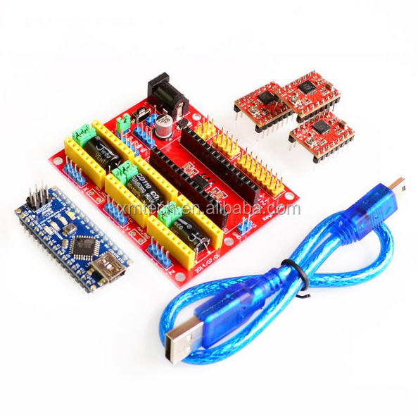 3DV4 CNC Shield V4 + Nano 3.0 + 3pcs A4988 Reprap Stepper Drivers Set for Arduino