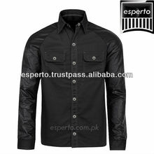 Leather Sleeve Twill Cotton Casual Shirt, New Hot Style Classic Collar Shirt