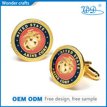 professional manufacturer from china cheap novelty engraved round gold plated copper customized logo party cufflinks
