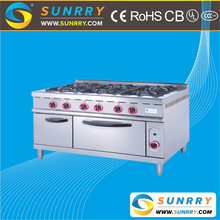 Commercial indoor stainless steel free standing induction 6 burner cooker gas range with gas stove oven
