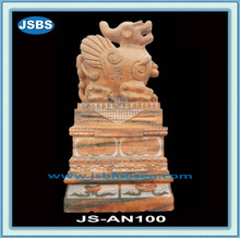 Yellow Marble Outdoor Pi Xiu Statue With Pedestal