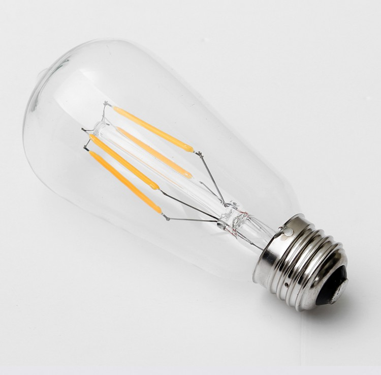 CE RoHS 4w 5W 6w 8w glass ST64 edison bulb ceiling decorative ligthing energy saving edison style e27 b22 led filament bulbs
