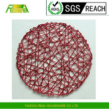 factory price Recycled Kitchen accessories metallic red paper raffia weaving round table placemat table runner