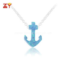 Wholesale Brass Sliver Plated Light Blue Anchor Opal Stone Necklaces