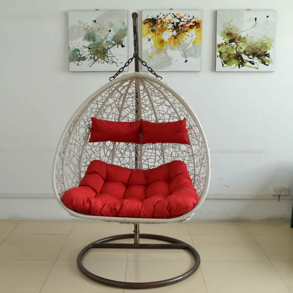 outdoor garden furniture iron/aluminum frame rattan lover swing chairs