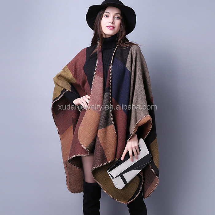 2016 New Fashion Women's Winter Acrylic Poncho Vintage Blanket Womens Lady Knit Pashmina Shawl Ethnic Poncho Scarf Shawl