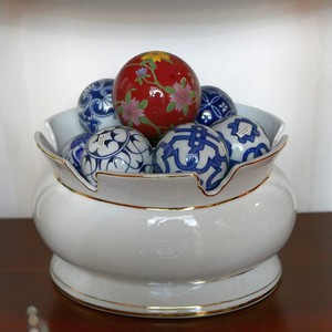 Hand painted blue and white docorative porcelain ball