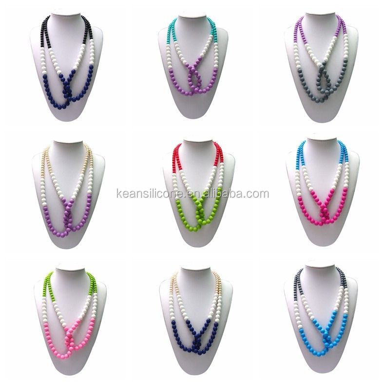 Teardrop pearl colors bead silicone necklace fake pearl strand beads
