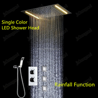 Electric Emebeded Ceiling Big Led Light Rain Shower Head Set