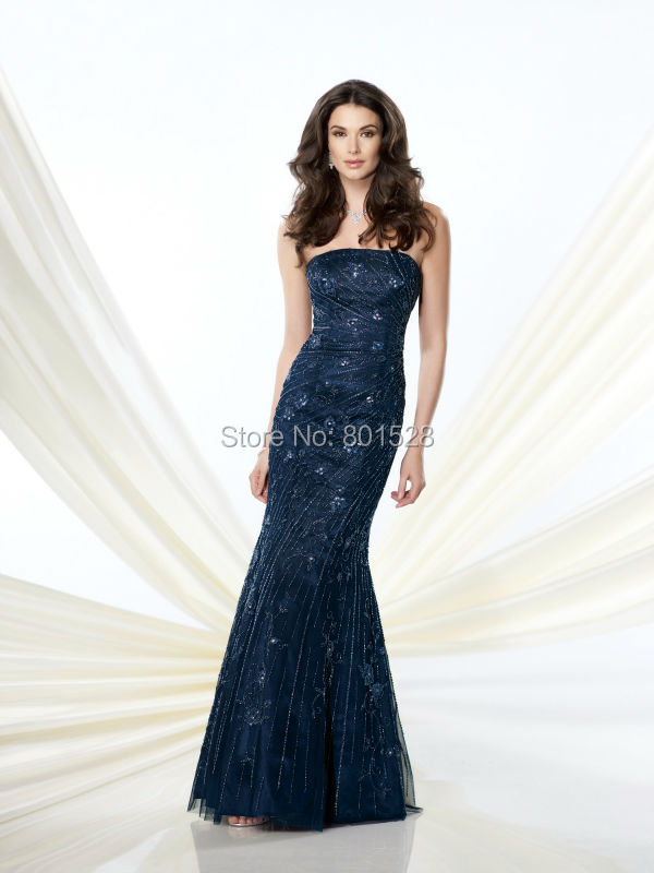 Get Quotations · RM19 Sexy Strapless Navy Blue Mother of the Bride Dresses  2015 Elegant Beaded Sequins Long Mermaid d6ca6832dc5b