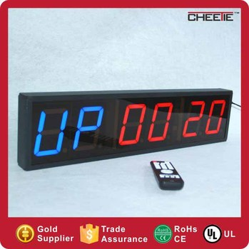 "4"" 6 Digit 4 Digit Wall Mounted Blue Red Led Digital Fitness Timer Clock"
