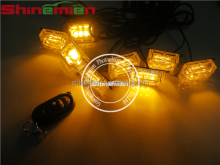 WIRELESS REMOTE CONTROL EMERGENCY WARNING 8 PANELS GRILLE LED STROBE LIGHT