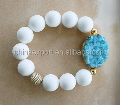 White Beads Blue Druzy Stone bracelet Wholesale Alibaba
