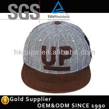 High quality wool 6 panel embroidery patch flat leather brim snapback cap
