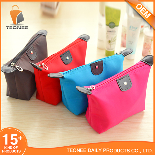 Promotional Small Cosmetic Bag, Canvas Travel Cosmetic Bag Fabric Zipper Pouch For Cosmetics