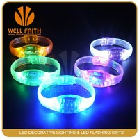 Cheap price sound activated led light up bracelet, music rhythm activated LED light-up flashing wristbands