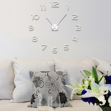 Modern DIY 3D Number Large Wall Clock Sticker Mirror Surface Home Room Decor