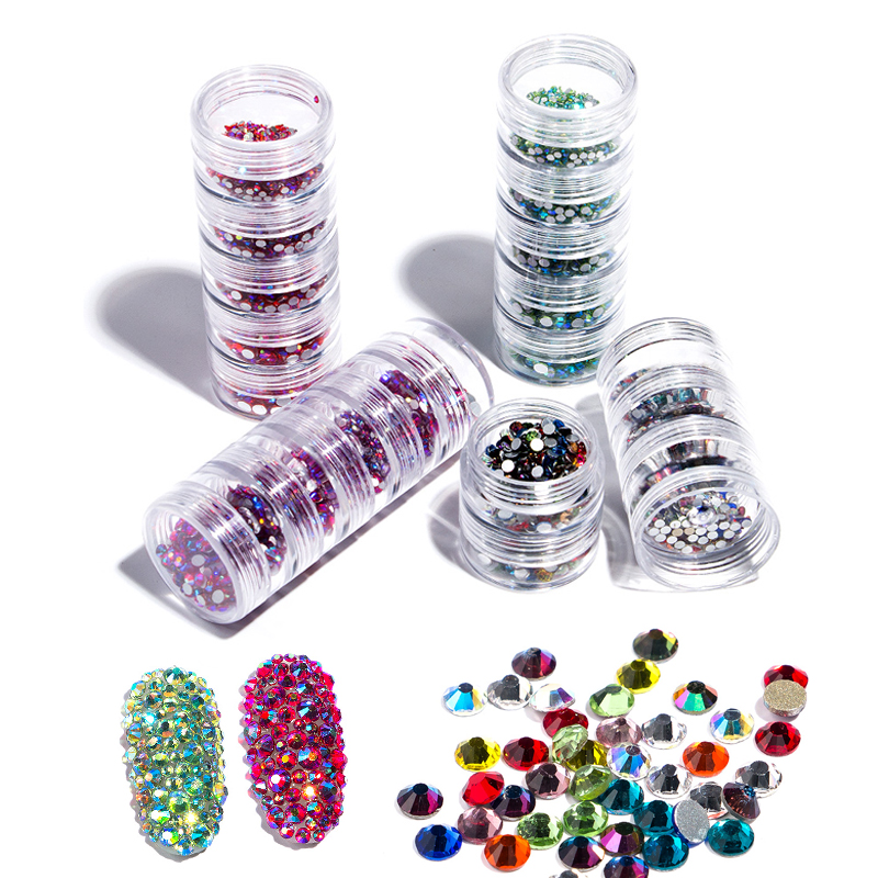 Queen Fingers 5 Layer Fashion Jar Storage Packing Mix Sizes SS3/4/6/8/10 Nail Art Rhinestone <strong>Crystal</strong>