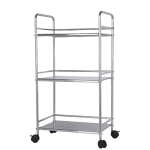 Stainless steel movable 3 tier kitchen serving seasoning microwave oven storage rack trolley cart