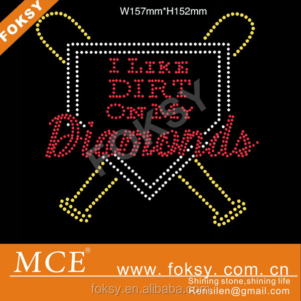 baseball diamond rhinestone iron on transfer