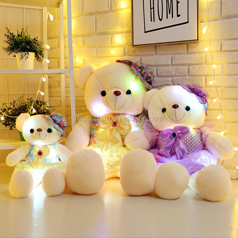 LED light up teddy bear plush toy cheap teddy lighting bear toys
